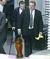 Rooney's wooden leg: Now thought to be faked